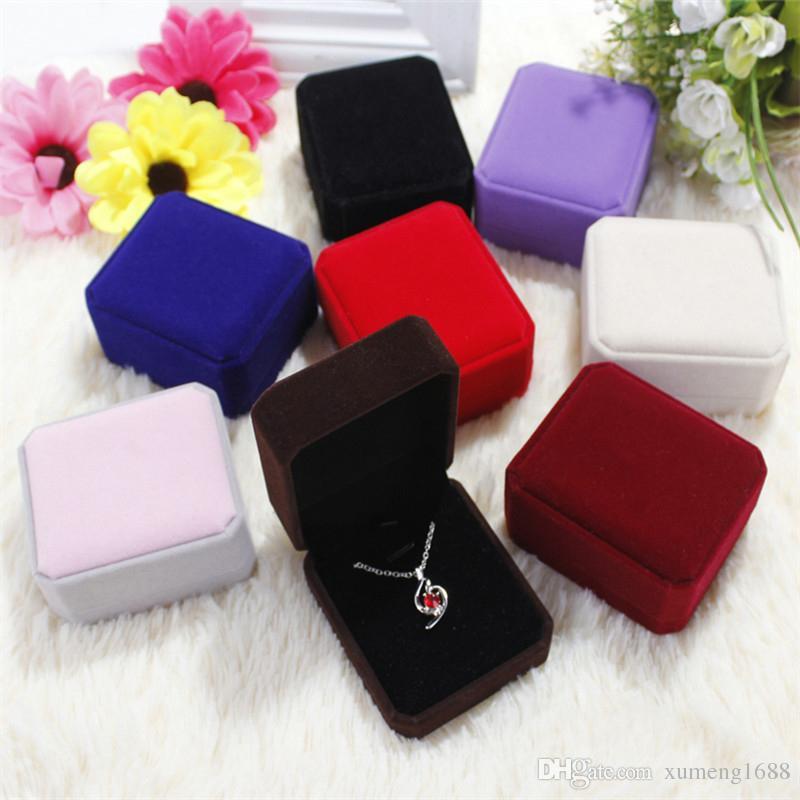 9 Farben Mode Samt Schmuck Paket Boxen Ohrring / Ring / Halskette Vitrine Halter Schmuck Geschenk Box 7 * 8 * 4cm