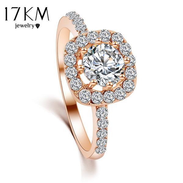Toda sale17KM Marca de Diseño Nueva Moda Elegante Lujo Encanto Anillo de Cristal joyas Oro Rosa Color de la Boda Novia Accesorios para las mujeres
