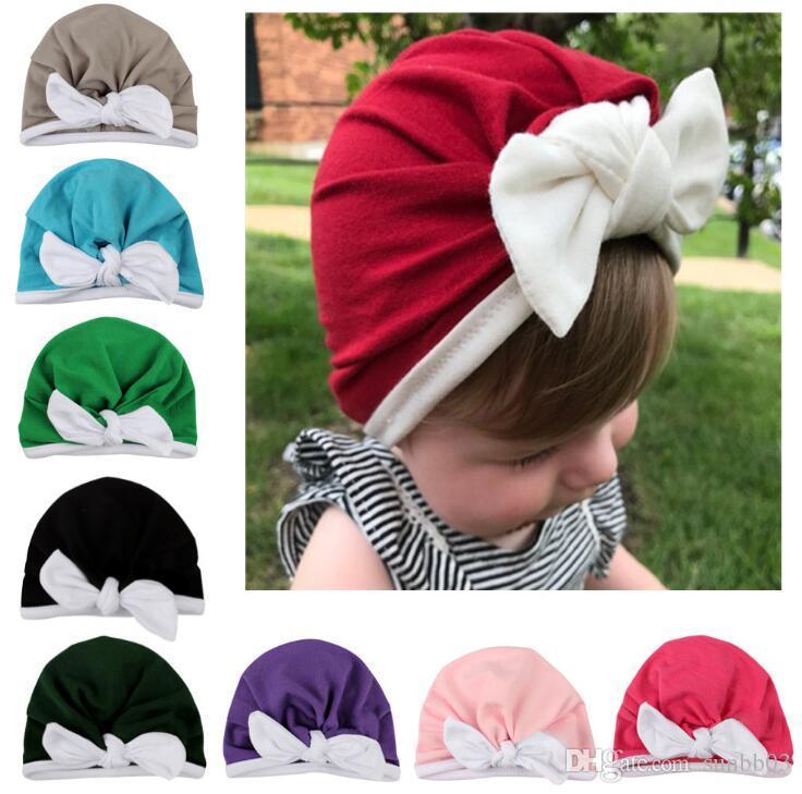 Christmas Europe Infant Baby Hat Bunny Ear Turban Headwrap Hats Girls Children Hats Kids Cap Beanies 9 Colors 14337