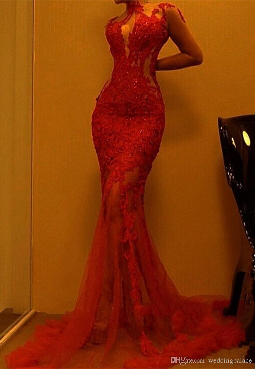 Gorgeous Red Mermaid Evening Dresses 2018 Lace Prom Dress On Sale Special Occasion Dresses Sexy Art Deco Inspired Neck Made Fashion Designer Dresses Online Designer Evening Gowns From Weddingpalace 100 74 Dhgate Com