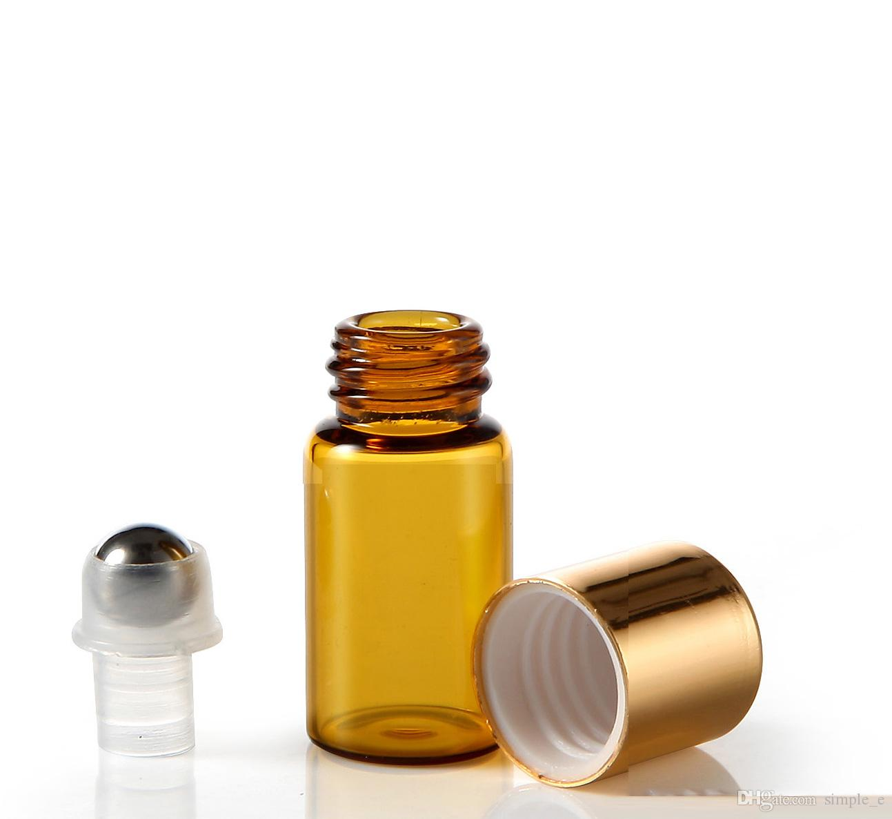 DHL./FEDEX搭載送料無料ミニ3MLブラウン琥珀色のガラスロールエッセンシャルオイル香水瓶サンプルステンレス鋼ローラーボール卸売