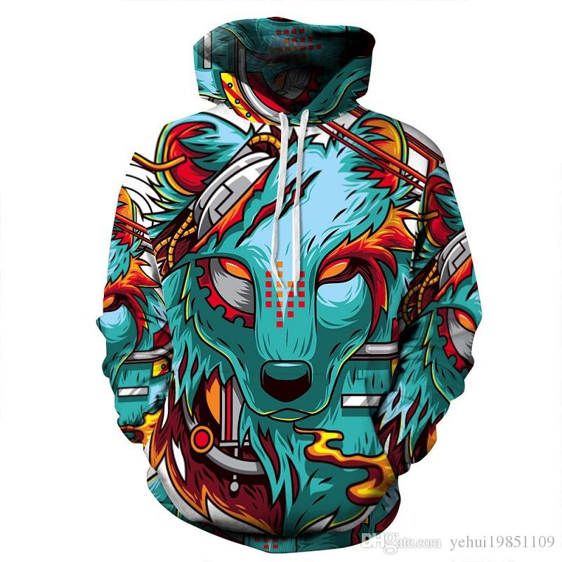 2018 Mens Fashion / Womens Kapuzen-Sweatshirt 3D Print Cool Animal Wolf Männer / Frauen Casual Hoodie Kapuzen-Sweatshirt Pullover