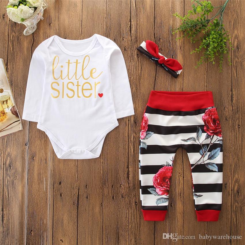 Newborn Baby Girl Clothes Little Sister Long Sleeve Romper +Floral Striped Long Pants Headband 3PCS Toddler Clothing Infant Girls Clothes