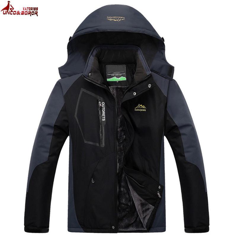UNCOBOROR плюс размер L~7XL 8XL зимняя куртка мужчины толстый бархат теплое пальто тепловой ветрозащитный водонепроницаемый мужской военный с капюшоном куртка D18101001