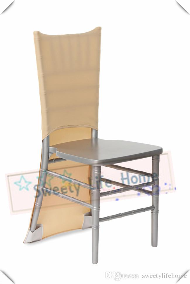 New products Champange Lycra Spandex chiavari chair covers/ Wedding Strech outdoor chair covers spandex chair caps party decorations