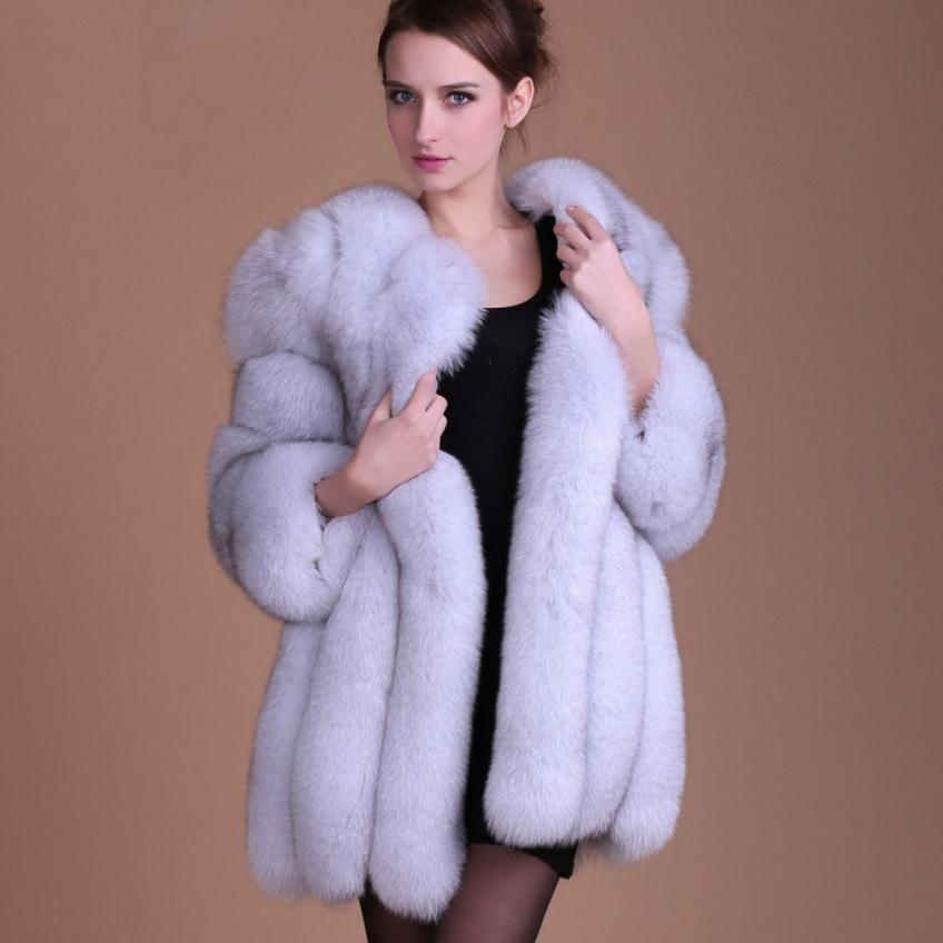 S-4XL بالاضافة الى حجم شتاء جديد الموضة وهمية الثعلب الفراء سترة المرأة فروي خياطة سمكا دافئة فو معطف الفرو wj1231