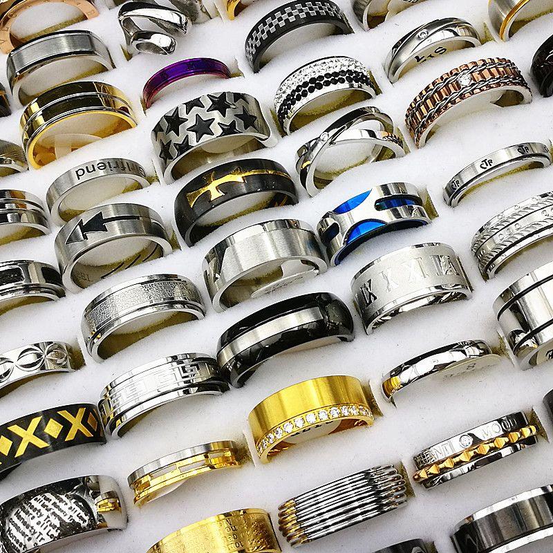 i lotti all'ingrosso 50pcs / lot mescolano gli stili anelli superiori dell'acciaio inossidabile di qualità per i monili della fascia di cerimonia nuziale delle donne degli uomini brandnew