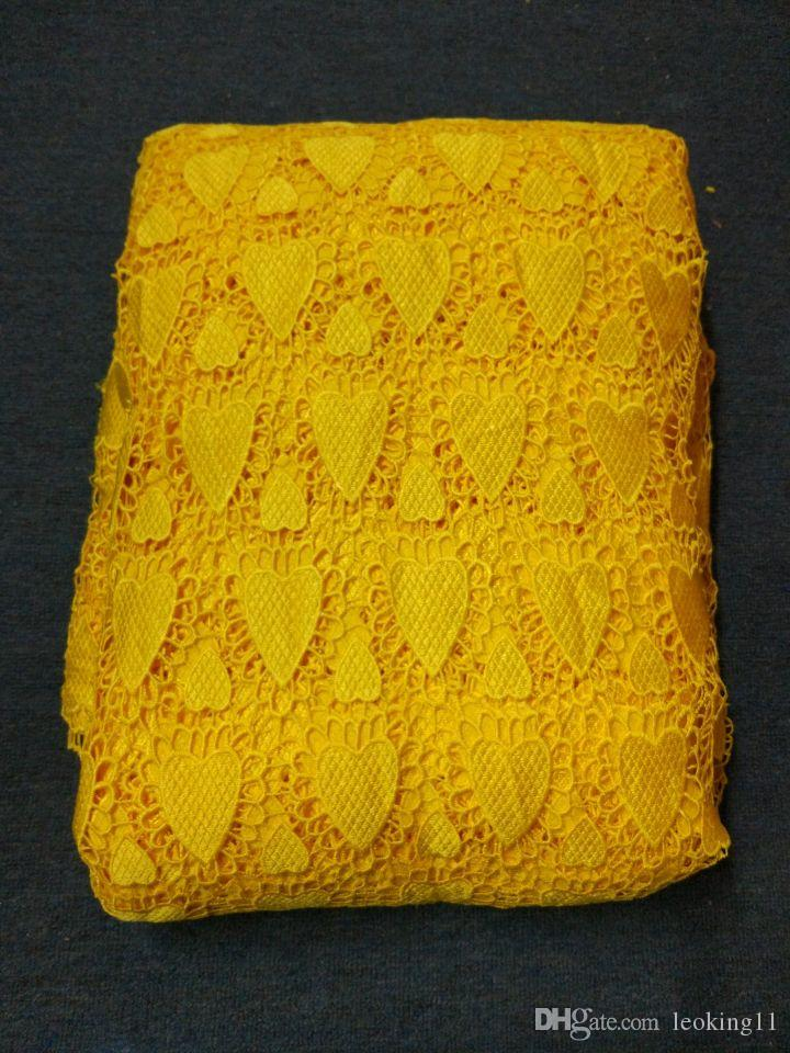 5 Yards/pc Beautiful yellow african water soluble guipure lace embroidery french cord lace fabric with rhinestone for clothes BW152-10