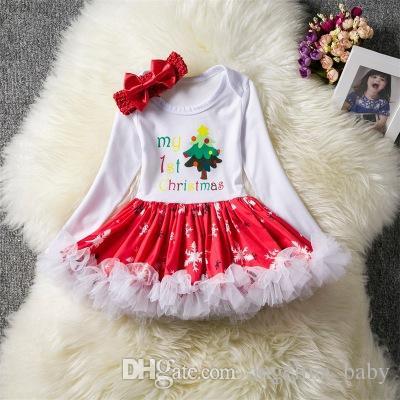 Рождество Детские платья девушки с длинным рукавом комбинезон пачка юбки Деды Морозы дерево носки печатных платье младенческой пузырь юбка + оголовье Рождество новорожденных наборы