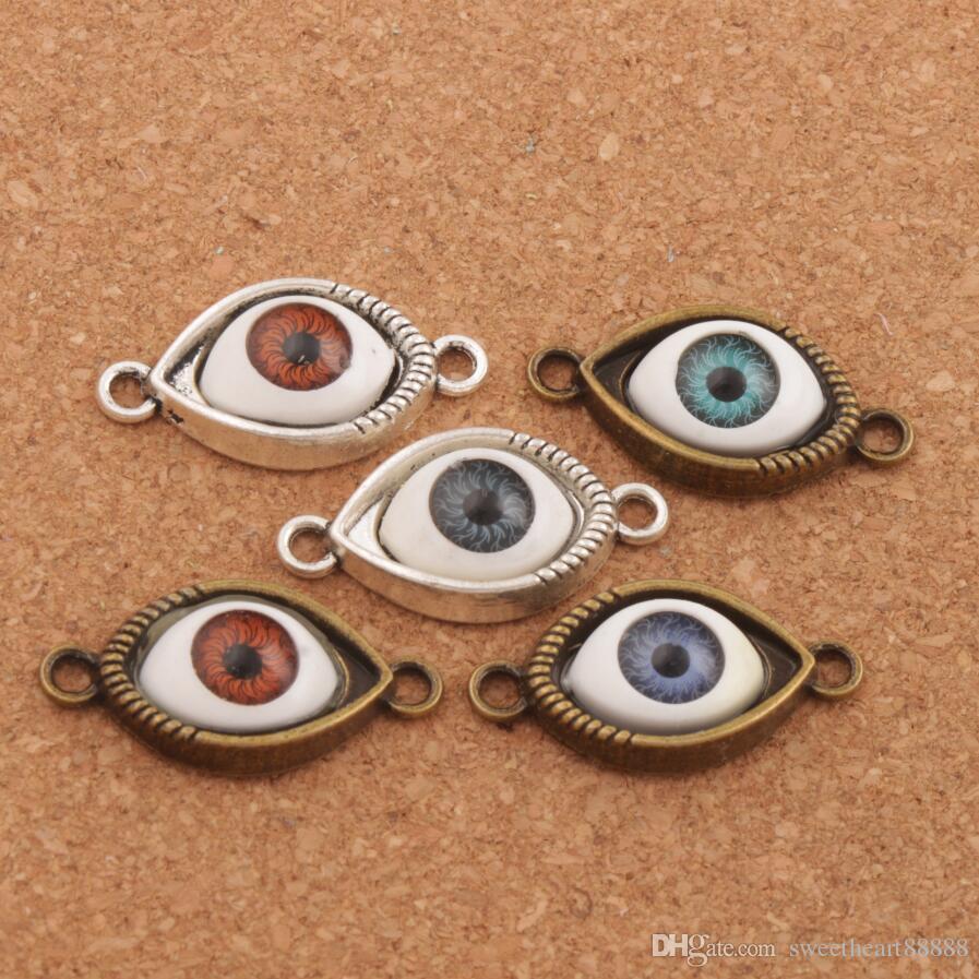 이블 눈 Hamsa 커넥터 매력 비즈 행운의 눈 60pcs / lot 5Colors 골동품 실버 / 우정의 팔찌 L1662 합금에 대한 청동 커넥터