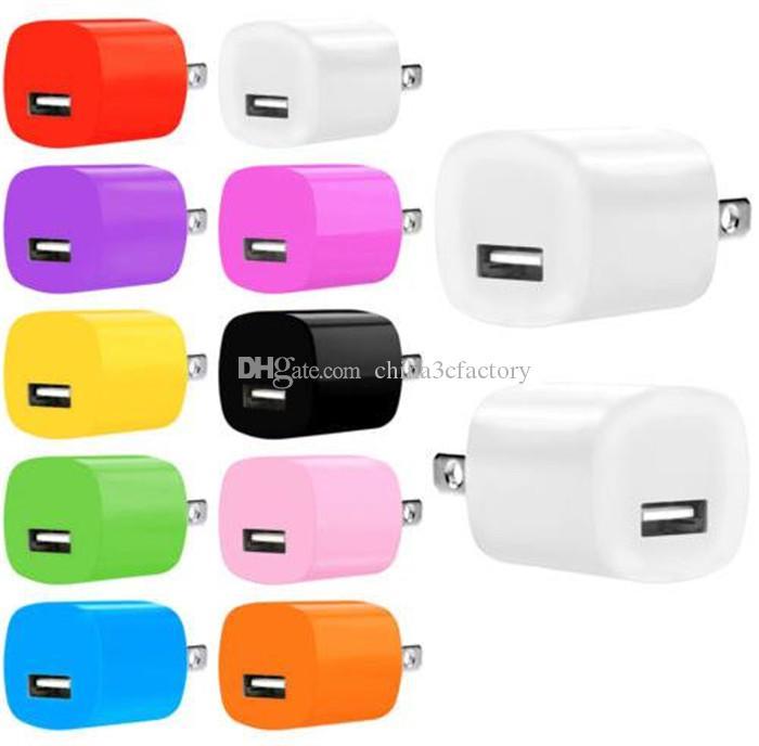 Высокое качество Красочные 5 В 1A США Ac дома зарядное устройство вилка адаптер для iphone 6 7 для Samsung