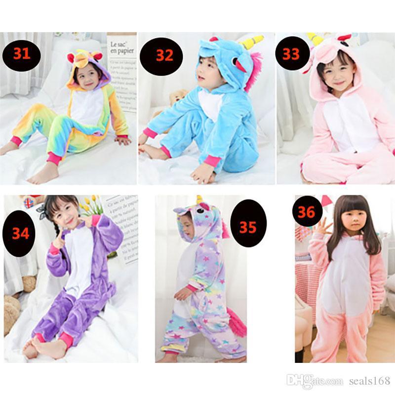 어린이 유니콘 바디 수트 잠옷 소년 소녀 동물 플란넬 코스프레 의상 잠옷 의류이지웨어 (36 개) 스타일 HH7-300