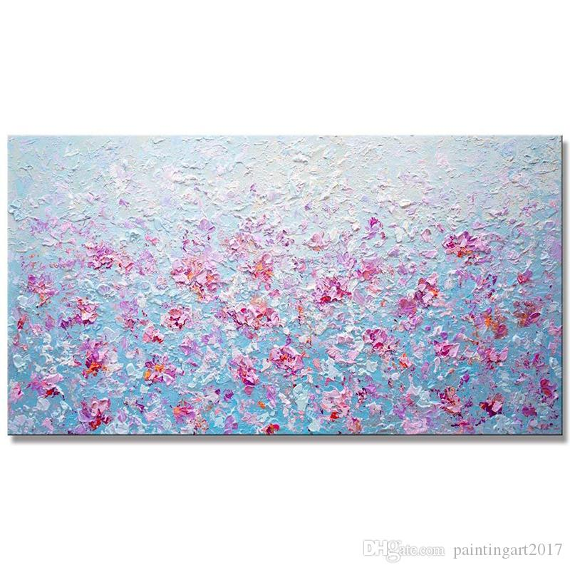 Canvas Painting Arts 100% Handmade Pink Modern Floral Painting Modern Palette Knife Painting For Home Decor Gift