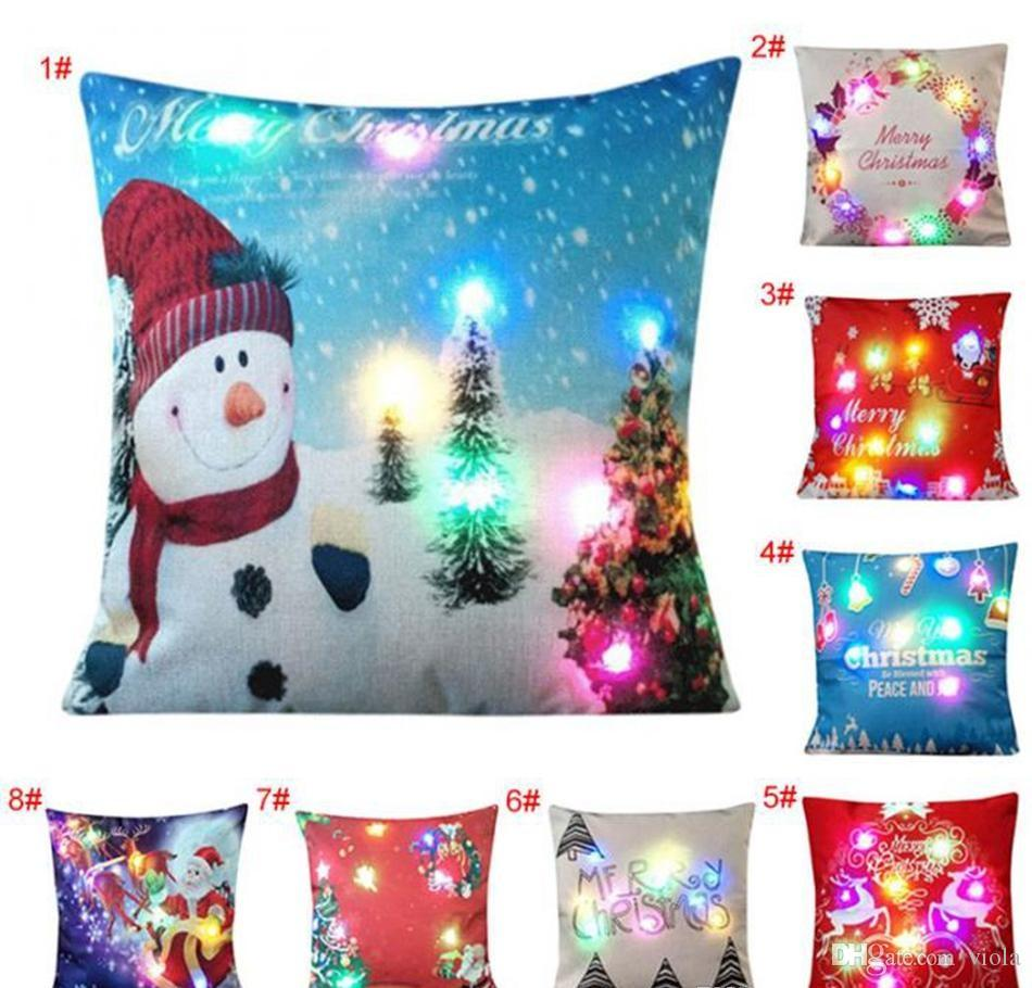 LED Christmas Pillow Case 45 45cm Xmas Linen Light Up Cushion Cover Throw Light Home Decor Christmas Decoration Pattern For Pillowcase Standard
