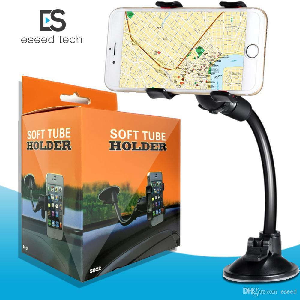 Per iPhone 6 / 6S Doppia clip di montaggio per auto, di facile utilizzo-Long Arm Universal / collo 360 ° di rotazione supporto del parabrezza del telefono per cellulari -Retail Confezione