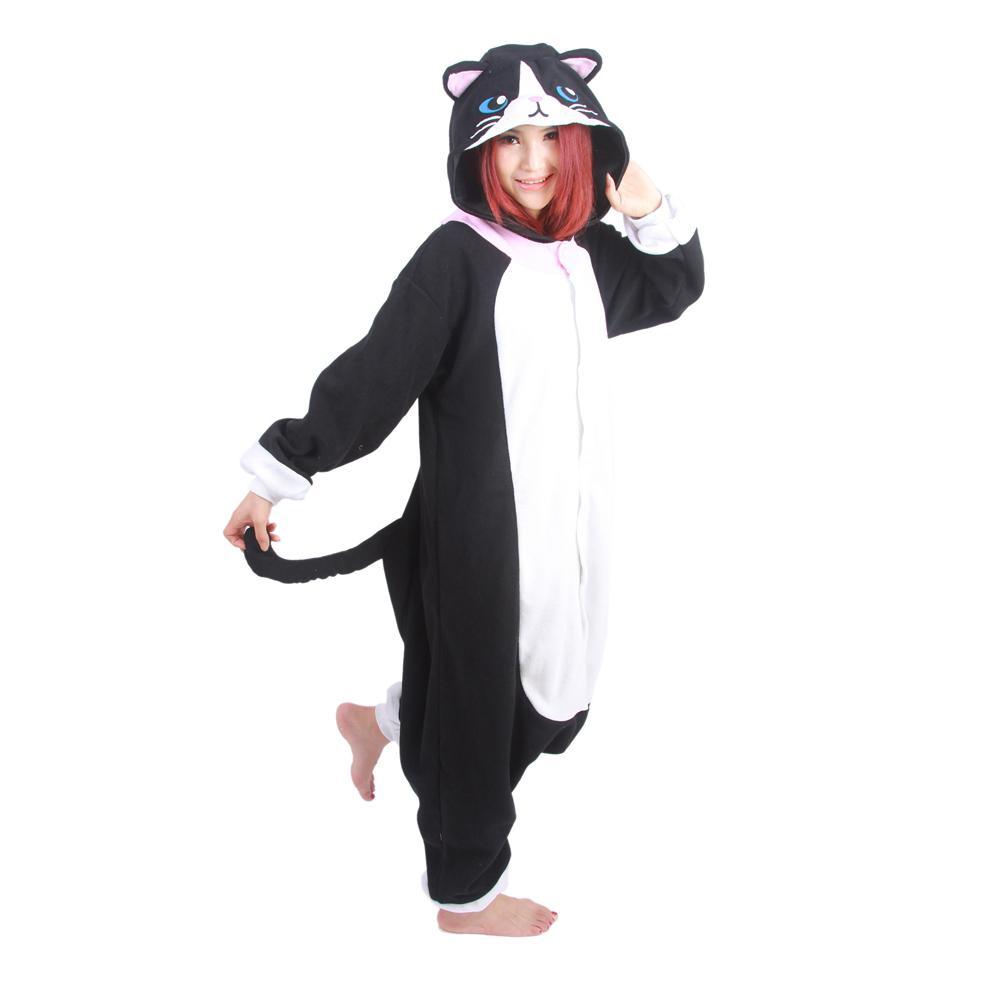 Unisex Adult Black Cat Pajamas Cute Cartoon Cosplay Pyjamas Halloween Costume Women's Onesies Flannel Animal Winter Warm Hooded
