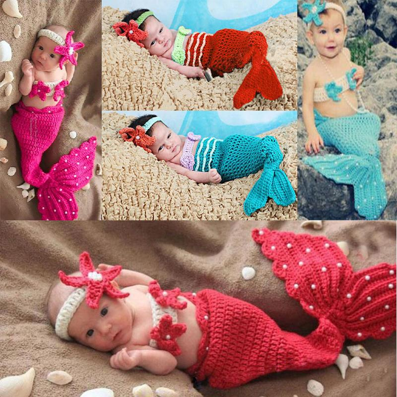 newborn photography props baby Costume Mermaid Infant baby photo props Knitting fotografia newborn crochet outfits accessories