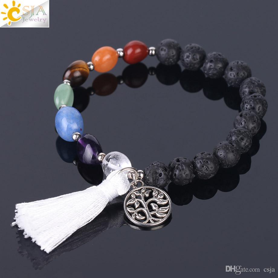 CSJA 7 Chakras Healing Point Bracelet 8mm Yoga Meditation Lava Natural Stone Beaded Bracelets Real Crystal Quartz Women Hand Jewellery F398