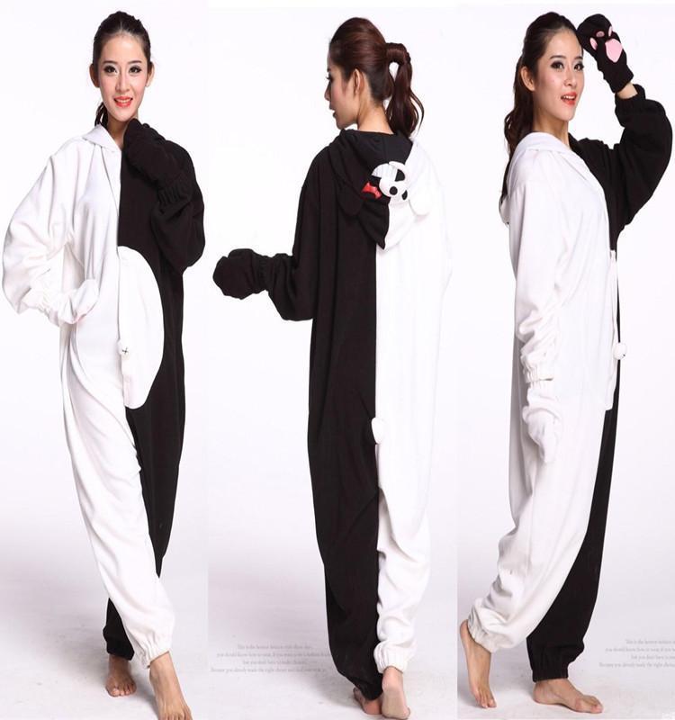 Adult Unisex Danganronpa Monokuma Cosplay Kigurumi Jumpsuit Pajamas Polar Fleece