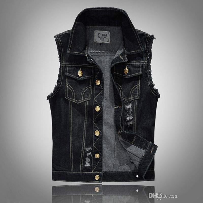 Hommes Distressed Denim Gilet Bleu Sans Manches Jeans Denim Veste Casual Gilets Pour Hommes Gilet Biker Homme
