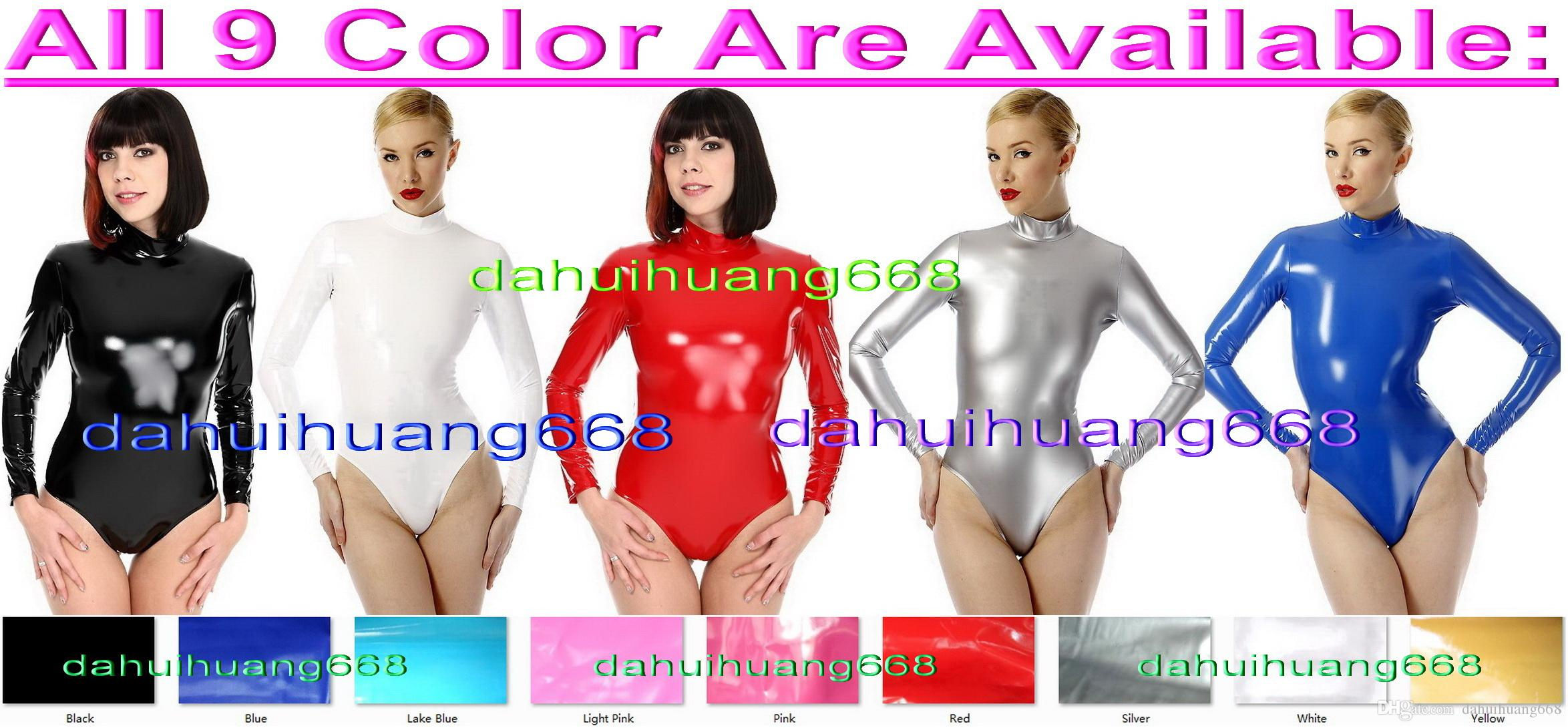 Sexy 9 Color Shiny PVC Short Suit Catsuit Costumes Unisex Short Bodysuit Costumes Sexy Shont PVC Body Suit Costumes Back Zipper DH221