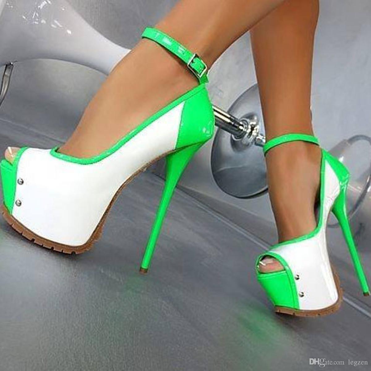 Legzen plataforma de bombas de las mujeres atractivas punta abierta delgados tacones altos bombas negro rojo verde zapatos de fiesta para mujer más el tamaño 20