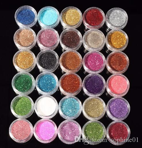 30pcs Cores misturadas Eyeshadow Pigment Glitter Mineral lantejoula Eyeshadow Makeup Cosmetic Set longa duração cor aleatória N05