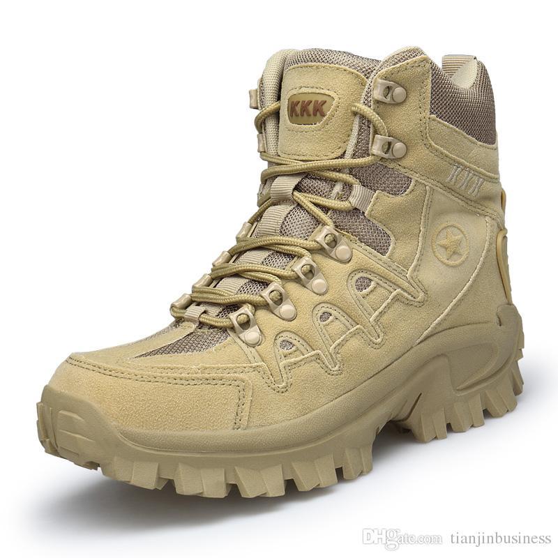 Scarpe da trekking da uomo nero / sabbia Sneaker Army Military Tactical Combat Boot Boots Scarpe da trekking Outdoor traspiranti e confortevoli
