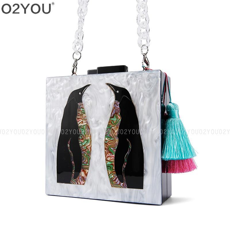 Women Acrylic Animal Shape Pearl White Design Clutch Handbags Cross body Bags Acrylic Box Clutches Evening Handbag Purse Chains Y18103004