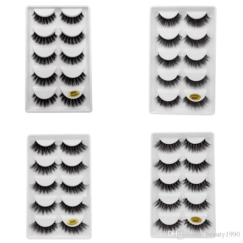 5pairs/set 3D Mink False EyeLashes Thick Plastic Black Cotton Full Strip Fake Eye Lashes For Party Make Up Tool With Cosmetic