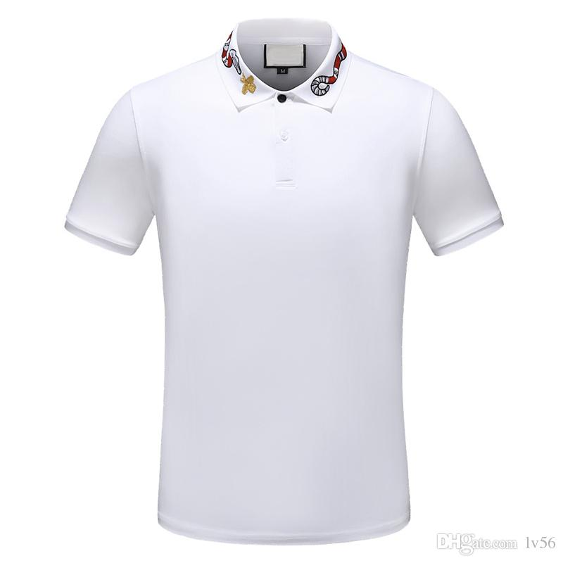 2019 designer stripe polo shirt t shirts snake polos bee floral embroidery mens High street fashion horse polo T-shirt