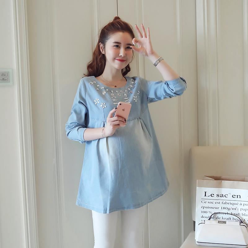 2021 Beading Cotton Denim Maternity Blouses Autumn Fashion Loose Shirts Clothes For Pregnant Women Spring Pregnancy Tops From Mingway245 18 6 Dhgate Com