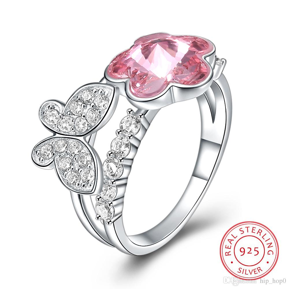 2020 Hot Sale Fashion Jewelry Crystal Butterfly Flower Ring For