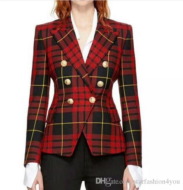2018 new with label Brand B Top Quality Original Design Women's Ladies Double-Breasted Slim Red Plaid Jacket Metal Buckle Blazer Outwear