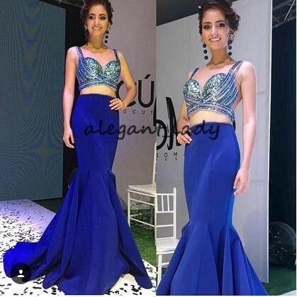 Royal Blue Due pezzi Prom Pageant Abiti 2018 Luxury Crystal Top Sweetheart Sexy Sirena tromba coda di pesce abiti da sera
