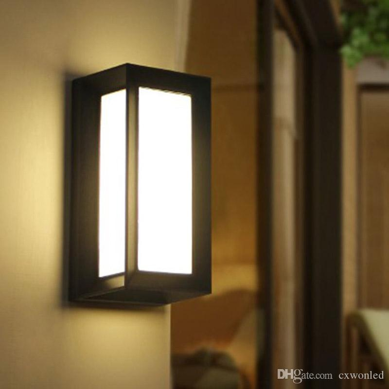 2019 Modern Outdoor Led Wall Lamps Bulb Ip54 Waterproof Exterior Porch Lights House Outside Garden Wall Light Fixture Black And Grey Colour From