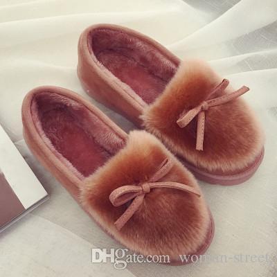 Новый 2018 женщин снегоступы толстые плюшевые зима теплая фасоль обувь Мода скольжения на плоские женщины ботильоны мягкий хлопок обувь