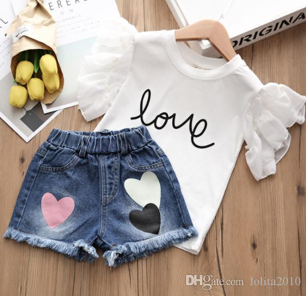Summer Girls Clothing Set 2018 Fashion girls Dolce cotone bianco / rosa love Top T shirt + neonate shorts in jeans per bambini
