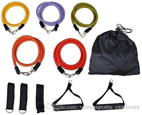 Deportes al aire libre Bandas de resistencia al látex Ejercicios Ejercicio Pilates Yoga Crossfit Fitness Tubos Cuerda de tracción 11 piezas / juego