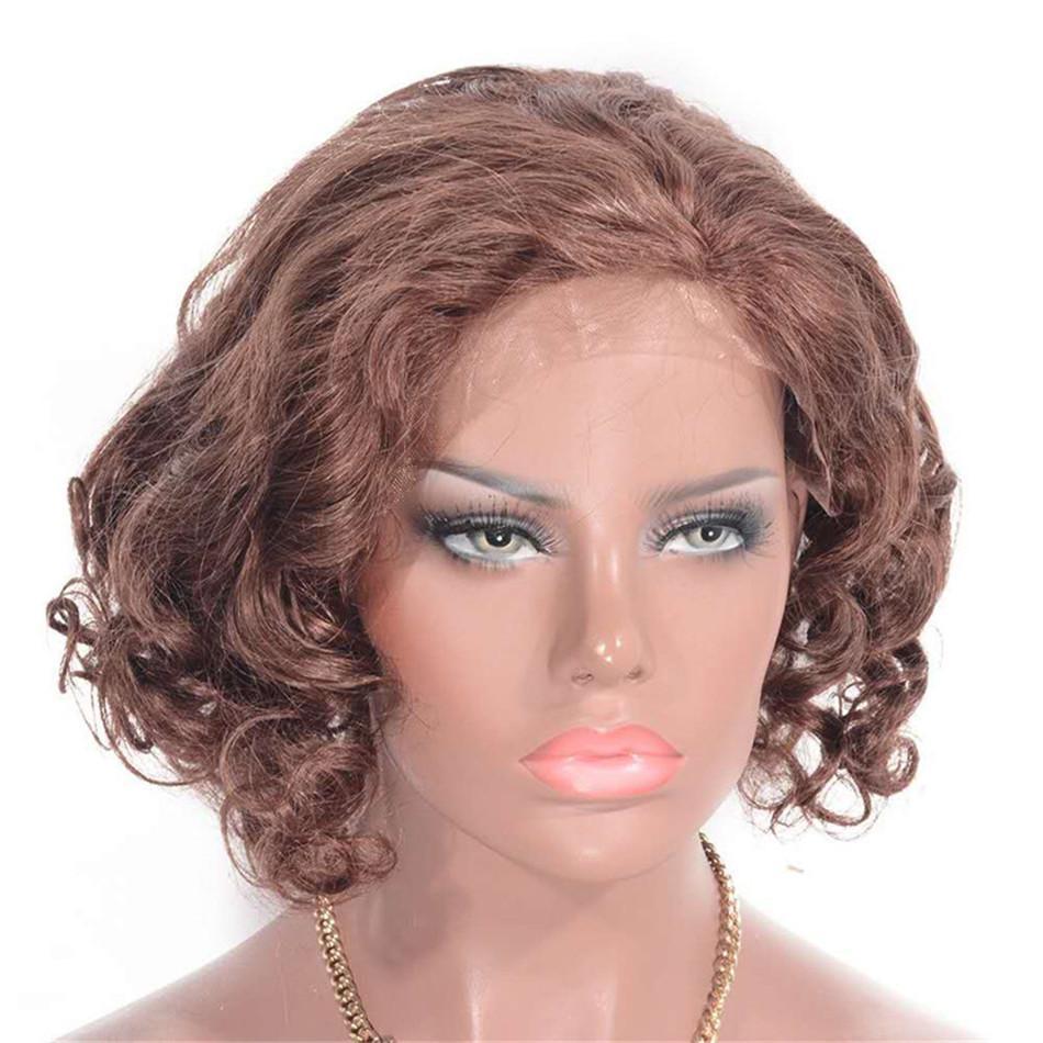 Малайзии человеческих волос кружева передние парики с ребенком волос 33# предварительно перебирают свободно вьющиеся парики шнурка