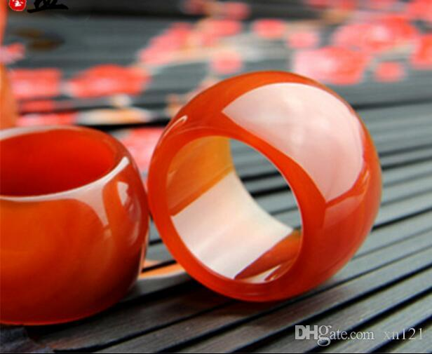 Próspera jade indústria natural ágata vermelha em linha reta puxar dedo calcedônia anel de moda anel grande dos homens