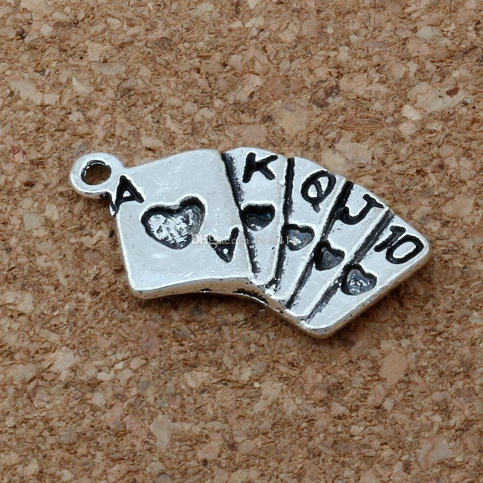 MIC . 100pcs/ lot Antiqued Silver Alloy Playing Cards Charms Pendants 13x25mm DIY Jewelry A-164