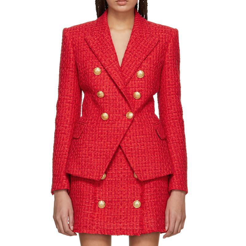 HAUTE QUALITÉ plus à la mode Automne Hiver 2018 Blazer Veste Boutons classique Lion femmes laine Blazer en tweed Manteau