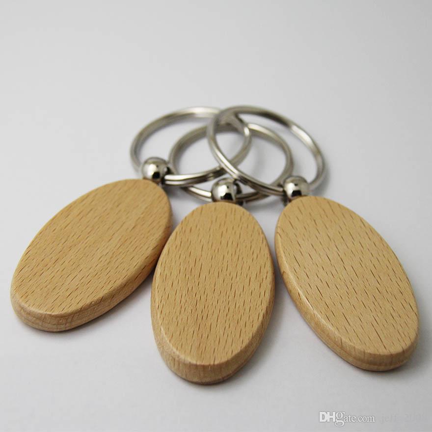 Atacado 10 pcs Oval Em Branco Chaveiro De Madeira DIY Promoção Personalizado Chave Tags Car Presente Promocional Chave Anel-Frete grátis
