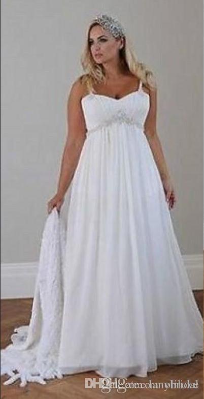 Casual Beach Wedding Dress Plus Size 2018 Spaghetti Straps Beaded Chiffon Floor Length Empire Waist Elegant Bridal Gowns