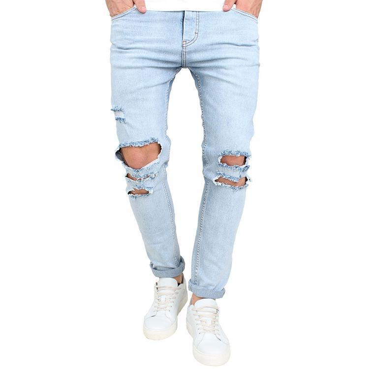 Moda Uomo Skinny Jeans Strappato Vestibilità slim Denim Distressed Jeans sfilacciati Ragazzi Ricamati Fantasia Pantaloni a matita J180609