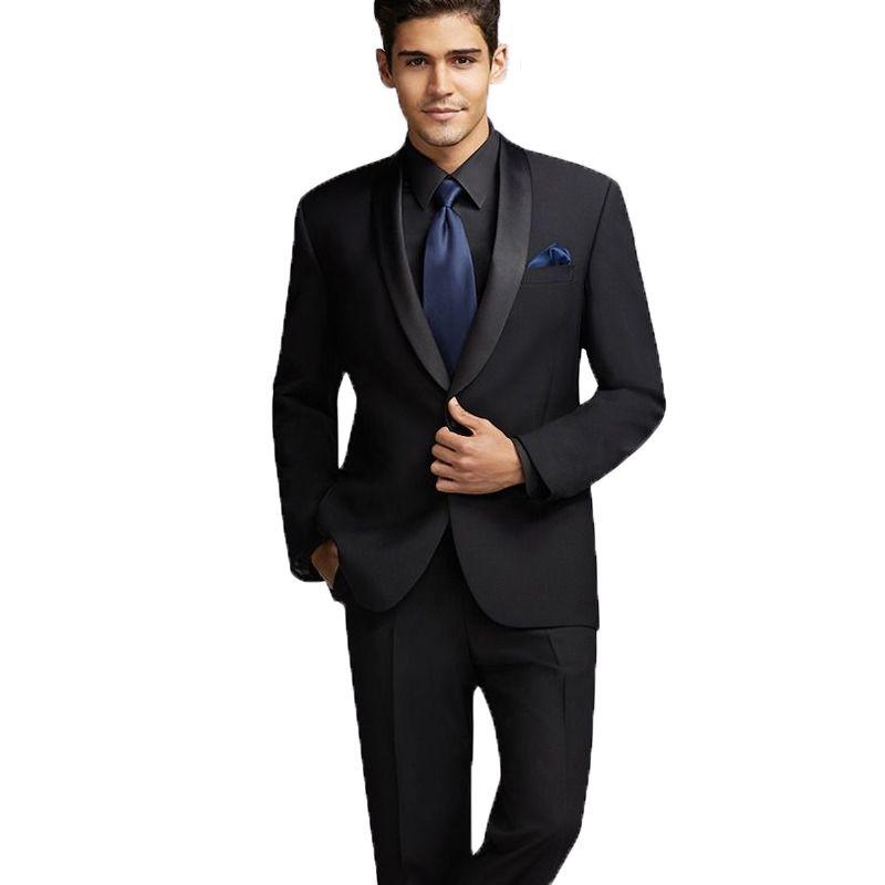 Black Groom Tuxedos Men Suits for Wedding Terno Masculino Groomsmen Suits Slim Fit Best Man Blazers 2 Pieces Jacket Black Satin Shawl Lapel