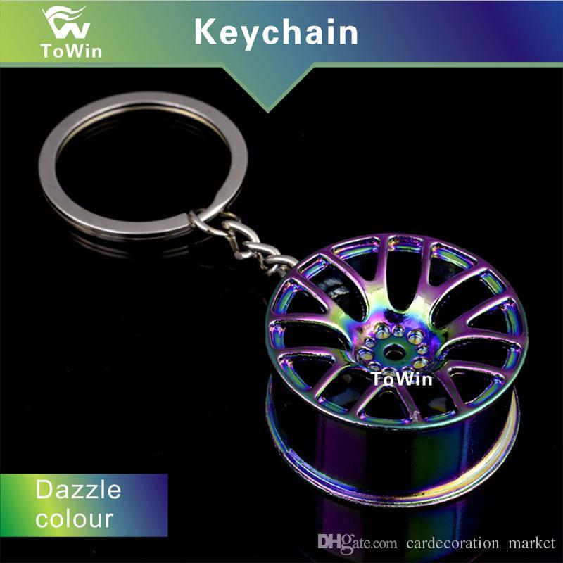 Yüksek kalite, Metal Anahtarlık Araba Anahtarlık Anahtarlık Yaratıcı Otomobil tekerlek hub zinciri Adam Kadın Hediye Için, En kaliteli sıcak satış, Toptan