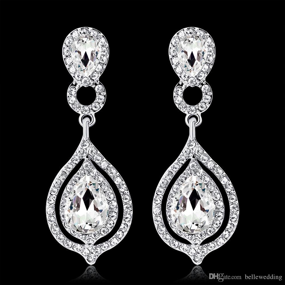 Brillantes Cristales de Moda Pendientes Diamantes de Imitación Pendiente de Gota Larga Para Mujeres Joyería Nupcial Regalo de Boda Para Damas de Honor BW-010