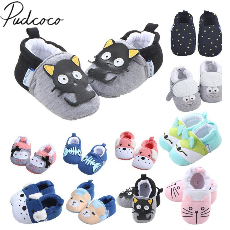 Mix Style Wholesale 30 Pairs Newborn Baby Boys Girls Animal Infant Cartoon Soft Sole Non-slip Cute Warm First Walkers Toddler Shoes
